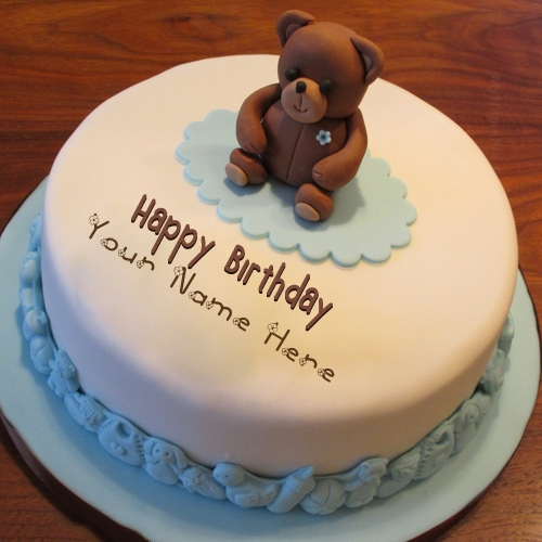Write Name on Teddy Bear Birthday Cake Picture