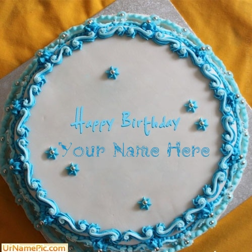 Blue Floral Birthday Cake Name Picture
